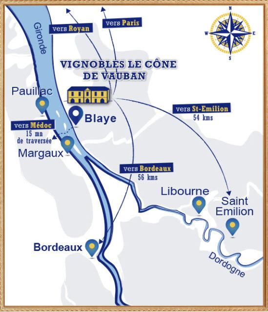 Situer les vignobles Le Cône de Vauban